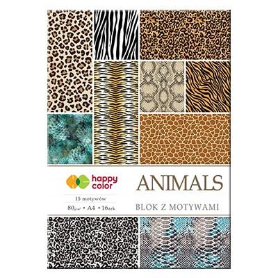 Blok z motywami Animals happy color