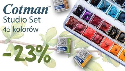 Cotman Studio Set – farby akwarelowe 45 kolorów 20% taniej!