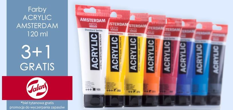 Talens Amsterdam farba akrylowa w promocji 3 + 1 Biel tytanowa GRATIS!